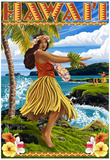 Hawaii Hula Girl on Coast Prints
