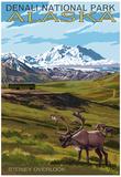 Denali National Park, Alaska - Caribou and Stoney Overlook Posters