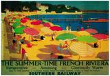 Summertime French Riviera Vintage Poster - Europe - Reprodüksiyon