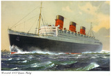 View of Cunard Ocean Liner Queen Mary Poster