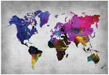 World Watercolor Map 13 Plakater av  NaxArt