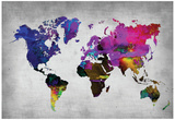 World Watercolor Map 13 Plakater