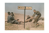 Two Border Patrol Officers Attempt to Keep a Fugitive in the Us Fotoprint van Luis Marden