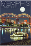 Memphis, Tennessee - Memphis Skyline at Night Posters
