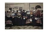 Peasant Women in Front of the Market Wear Traditional Folk Costume Photographic Print by Hans Hildenbrand