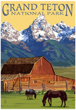 Grand Teton National Park - Barn and Mountains Plakater