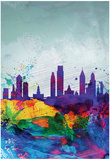 Philadelphia Watercolor Skyline Affiches