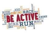 Active Fitness Word Cloud Collage Poster