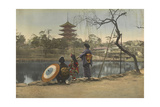 Two Women and a Young Girl Stand on the Banks of a Lake in Park Photographic Print by Kiyoshi Sakamoto