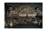 People Enjoying the Gellert Bath, an Outdoor Swimming Pool on the Banks of the Danube Giclee Print by Hans Hildenbrand