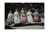 Five Young Girls Wear their National Costume Pridefully Giclee Print by Hans Hildenbrand