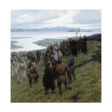 A Painting Shows the Christian Clergy Preaching to a Norse Settlement Giclée-tryk af Tom Lovell