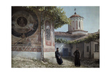 Preobrajenski Monastery Monks Rest Outside Church Adorned with Murals Fotografiskt tryck av Wilhelm Tobien