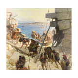 A Painting Depicts Macedonian Soldiers Attacking Tyre Giclée-tryk af Tom Lovell