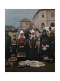 Portrait of Peasant Women and Girls at the Market in Mezokovesd Photographic Print by Hans Hildenbrand
