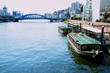 Ferries Docked Along a Canal in Tokyo Photographic Print by Heather Perry