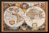 17th Century Antique Style World Map Posters