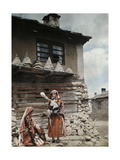 Islamic Bulgarian Pomak Peasant Women Spinning Wool Yarn Photographic Print by Wilhelm Tobien