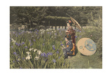 Two Young Women Gather Irises in a Japanese Garden Photographic Print by Kiyoshi Sakamoto