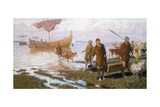 Vikings Land at Vinland on Newfoundland Giclee Print by Tom Lovell