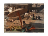 "A Fakir Sits Beside the ""Soul-Cleansing"" Ganges River Photographic Print by Gervais Courtellemont"