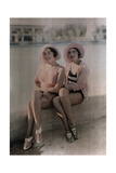 Two Girls in Bathing Suits Sit on a Concrete Ledge Fotografiskt tryck av Wilhelm Tobien