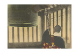 A Buddhist Priest Strikes a Temple Bell Photographic Print by Kiyoshi Sakamoto