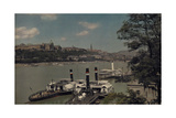 View of Traffic Along the Danube, with the Royal Castle in Background Photographic Print by Hans Hildenbrand