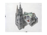 Architectural Painting and Cutaway of Chartres Cathedral Giclee Print by Robert W. Nicholson