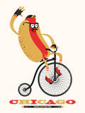 Chicago Style 1893 (Hotdog on bike) Serigraph by  Delicious Design League