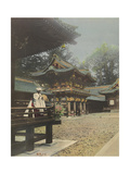 A Robed Man Stands on the Balcony of a Japanese Temple Photographic Print by David Robertson