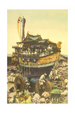 A Decorated Festival Car Rolls Down the Streets of Kyoto in a Parade Photographic Print by Kiyoshi Sakamoto