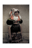 A Young Girl Wears the Sunday Costume and a Headdress with Fringe Photographic Print by Hans Hildenbrand