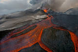 Tolbachik Volcano Erupting with Lava Flowing Down the Mountain Side Photographic Print by Sergey Gorshkov