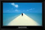 Success Walking on Beach Art Print Poster Print
