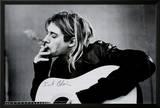 Kurt Cobain (Smoking) With Guitar Black & White Music Poster Posters