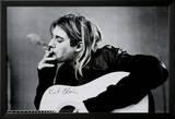 Kurt Cobain (Smoking) With Guitar Black & White Music Poster - Reprodüksiyon