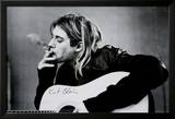 Kurt Cobain (Smoking) With Guitar Black & White Music Poster Stampe