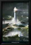 Lighthouse and Stormy Sea Posters by Steve Bloom