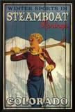 Winter Sports in Steamboat Springs Colorado Ski Art Print Poster Posters