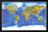 Satellite Physical Map of The World Posters