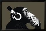Schimpanse mit Kopfhörer Poster