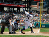 Jun 7, 2012, Cleveland Indians vs Detroit Tigers - Miguel Cabrera, Lou Marson Photographic Print by Gregory Shamus