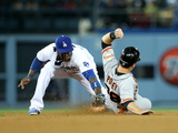 May 8, 2014, San Francisco Giants vs Los Angeles Dodgers - Hanley Ramirez, Buster Posey Photographic Print by Stephen Dunn