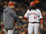 Jun 27, 2014, Cincinnati Reds vs San Francisco Giants - Bryan Price, Johnny Cueto Photographic Print by Thearon W. Henderson