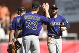 Apr 12, 2014, Colorado Rockies vs San Francisco Giants - Charlie Blackmon, Justin Morneau Photographic Print by Thearon W. Henderson
