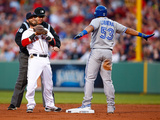 May 20, 2014, Toronto Blue Jays vs Boston Red Sox - Dustin Pedroia, Melky Cabrera Fotografisk tryk af Jared Wickerham