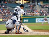May 6, 2014, Houston Astros vs Detroit Tigers - Jason Castro, Victor Martinez Photographic Print by Gregory Shamus