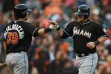 May 17, 2014, Miami Marlins vs San Francisco Giants - Casey McGehee, Jarrod Saltalamacchia Photographic Print by Thearon W. Henderson