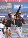 Apr 4, 2014, Baltimore Orioles vs Detroit Tigers - David Lough, Adam Jones, Chris Davis Photographic Print by Leon Halip